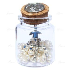 Frasco de cristal con rosario y medalla de Angel